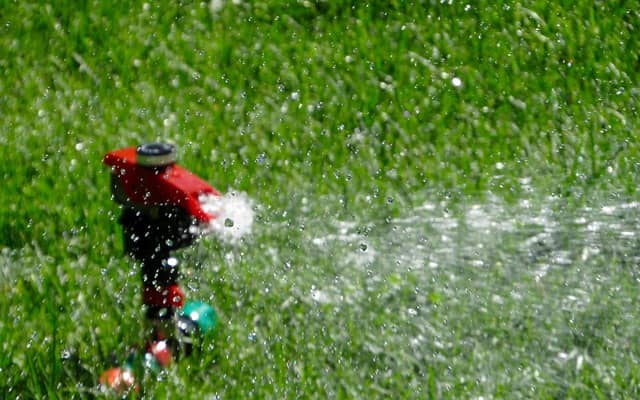 Watering a lawn