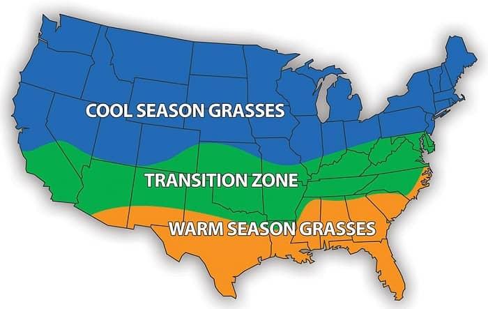 warm and cool season region map of usa